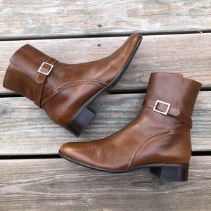Womens Talbots Brown Leather Side Zip Ankle Boots